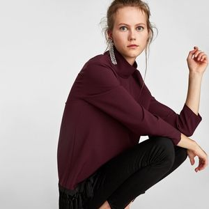 ZARA Burgundy High Neck Top with Fringes